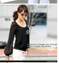 Chiffon U belted and balloon sleeves / long sleeves blouse ◎ order today will ship 3/11