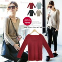 V neck-burklenitsaw long-sleeved tops and simple plain ♪ ◎ order today will ship 12/15