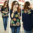 Floral style balloon sleeve tunic blouse back pleats ◎ order today will ship 5/27