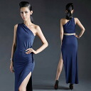 One shoulder long slit Maxi-length dress: order today will ship 2/26