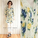 It is with waist ribbon. I am going to ship it on order about March 24 hemp blend flower print shirt-dress / tunic ◎ today