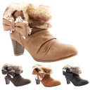 ☆I am going to ship it on order about April 30 feminine bootie ☆ ribbon ☆ race ☆ feminine ☆ fur ☆ heel 6cm ☆ bootie ☆◎ today with the fur