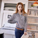 Clearance sale! I am going to ship it on order about August 27 stripe long sleeves chiffon shirt blouse tops monotone ◎ today
