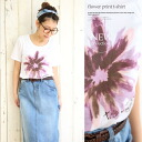 Adult flower and watercolor touch big floral print short sleeve T shirt / shirt ◎ order today 4/2 will ship