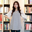 Clearance sale! I am going to ship it for tops ★ race puff sleeve, A-line horizontal stripe cut-and-sew ★ 5 on order about August 1 sleeve ◎ today