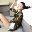 Camo & military / knit chiffon chats ◎ order today will ship 1/5