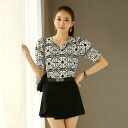 I am going to ship it on order about October 23 geometry pattern, chiffon short sleeves tops ◎ today