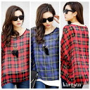 Suave soft SI von! Tartan-checked silet tunic Georgette material loose cut and sewn, in casual wear-7-sleeves in fine show ◎ order today 8/4 will ship