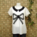 Lace Ribbon, round collar short sleeve T shortcut saw-tunic dress-monotone ◎ order today will ship 2/9