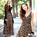Leopard print chiffon kashkul now sleeve Maxi-length one piece • order today will ship 11/25