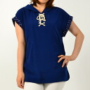 Lace-up tunic pullover shirt tops Marin taste short sleeve polka-dots ◎ order today will ship 4/23