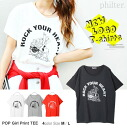 Pin-up girl print short sleeve tee tops and loose-philter ◎ order today 1/13 will ship