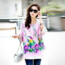 Floral print chiffon and so-called silet tops and tunic/shirt ◎ order today will ship 12/25