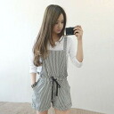 Clearance sale! I am going to ship it on order about August 27 stripe salopette short pants all-in-one ◎ today
