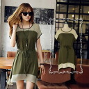 Clearance sale! I am going to ship it on order about August 11 by color, short sleeves tunic one piece side longish hemline ◎ today