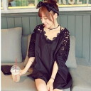 And flower lace 5-sleeve tunic dress, black & white ◎ order today 12/22 shipment plan