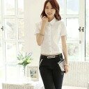 Simple, stylish short-sleeved shirt, blouse, white pants, in her sneakers, bags with code! ◎ order today will ship 6/16
