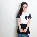 T shirt-black/white two-color ★-circular skirt layered tunic collar separated shirt ◎ order today 3/17 will ship