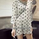 Polka dot tunic-shirt-tops and part 7 sleeves and polka dot ◎ order today will ship 4/20