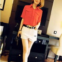 Five minutes short sleeves in simple t-shirts, blouses and short-length trend haywestbottom with staff and office he so ◎ today ordered will ship 5/26