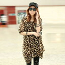 Leopard print chiffon asymmetry tunic blouse shirt Leopard ◎ order today will ship 3/26