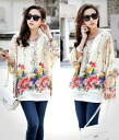 I am going to ship it on order about September 3 flower / floral design print / chiffon tunic / three-quarter sleeves ◎ today
