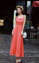 Lace-frill Maxi-length dress layered tones piping herringbone ◎ order today will ship 3/3