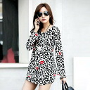 Great with snazzy red color Leopard print long-sleeved mini dress, leggings, boots and ◎ order today will ship 3/2