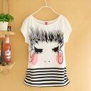 Girls skirt border short sleeve T shirt, short-sleeved tops girl print casual ◎ order today will ship 11/20