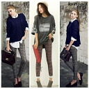 Stretch beauty legs mix Tweed pattern long pants, skinny silhouette ◎ order today will ship 3/11