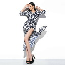 Floral, surplice, and 7 minutes / sleeves long one piece adult flower print ◎ order today 7/1 will ship