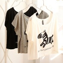 Dolman and short-length short sleeve T tops / sewn / monotone print ◎ order today will ship 3/3