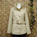 Wool-blend Tweed! check pattern / / belted stand collar short coat / adult girly ◎ order today will ship 5/8