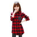 Long-length long-sleeved check shirt, blouse tops, tunic dress, Cape and casual TOPS: order today will ship 6/24