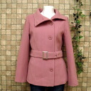 Brushed wool processing, short coat, 2-WAY stand color jacket outer belt with ◎ order today will ship 5/8