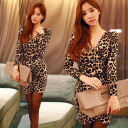 Titewanpeacemini SEXY Leopard print surplice, long sleeve shirt, Leopard, adult women, party • order today will ship 12/25