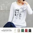 Crew neck long sleeve long T shirt-Ron T, retro pinnapgirlprint casual ◎ order today will ship 2/27