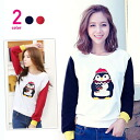 Penguin print, switch color long sleeve shirt trainers sweat tops relaxed casual ◎ order today will ship 1/6