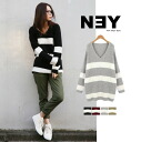 NEY and fluffy texture ☆ loose knit V neckbordernittunictops ◎ order today 6/17 will ship