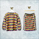 Geometry pattern knit 2-piece set of geometric patterns, upper and lower set trainers and skirt and knee-length tops bottoms sweat knit pullover round neck neck ◎ order today will ship 12/18