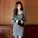 Houndstooth, long-sleeved titewanpeacemini and monotone, clean refrain, adult women and beauty line ◎ order today 1/27 will ship