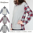 Cotton flannel, yarn-dyed Plaid × switching back hair and long-sleeved shirts, pullover tops, casual, layered clothing style: order today 1/21 will ship