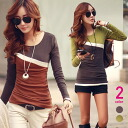 Diagonal lines, color selector, crew neck long sleeve catteauthops, adult casual Brown khaki ◎ order today will ship 6/23