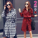 Long-check pattern long sleeved shirt dress slit, belt, and black red ◎ order today will ship 2/2