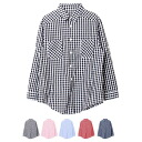 Year-round wear gingham check shirt blouse casual Gary cotton cotton are able ◎ order today will ship 6/15