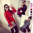 High neck long sleeve NET tops ribbed sweater race switching SEXY skin attracted casual women's: order today 6/3 will ship