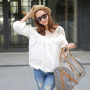 Natural girly sheer long sleeve balloon chats tops pullover race switching adult cute feminine women's casual: order today will ship 6/24