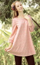 7-sleeve racetunicwan-piece ladies A line crew neck adult Cute Girly feminine pink ◎ order today will ship 3/5