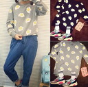 Cut and sewn long sleeve women's tops printed cotton round collar vintage centerpiece baked egg egg trainer ◎ order today will ship 5/28