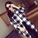 Long-sleeved shirt blouse long tunic Womens check pattern casual monotone then adults loose ◎ today ordered will ship 3/5